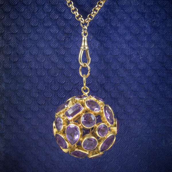 AMETHYST 18CT GOLD ORB PENDANT NECKLACE 9CT GOLD CHAIN  COVER