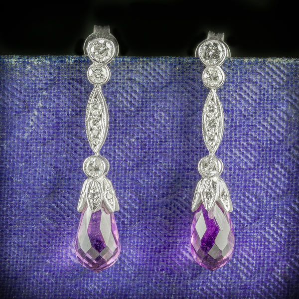 AMETHYST EARRINGS DIAMOND BRIOLETTE CUT AMETHYST 18CT GOLD COVER