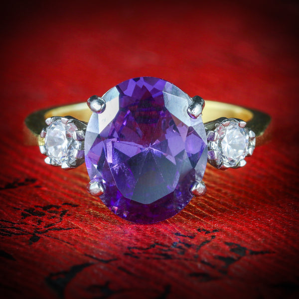AMETHYST PASTE TRILOGY RING 18CT GOLD SILVER FRONT