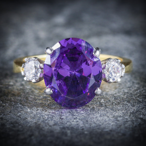 AMETHYST PASTE TRILOGY RING 18CT GOLD SILVER FRONT2