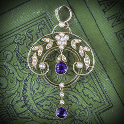 AMETHYST PEARL FLORAL PENDANT 18CT GOLD COVER