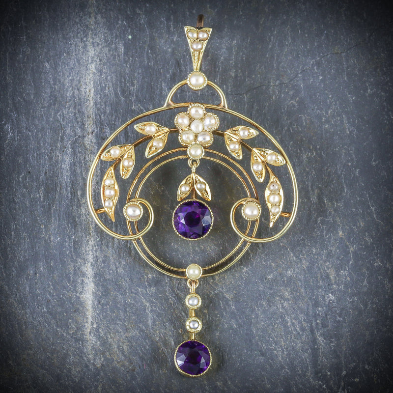 AMETHYST PEARL FLORAL PENDANT 18CT GOLD  FRONT