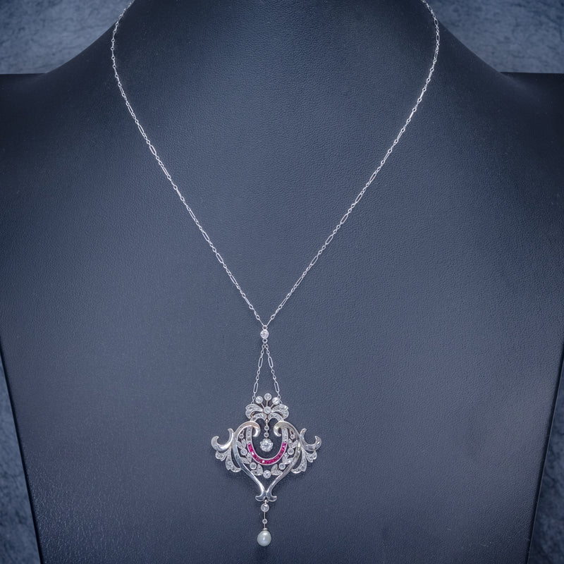 ANTIQUE DIAMOND RUBY PEARL PENDANT NECKLACE PLATINUM 18CT GOLD CIRCA 1915 BOXED NECK