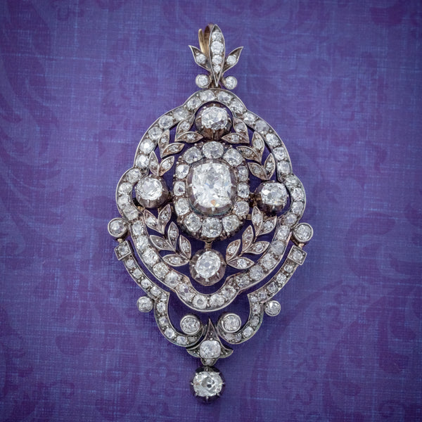 ANTIQUE EDWARDIAN DIAMOND PENDANT BROOCH 8.35CT OF DIAMONDS 18CT GOLD CIRCA 1905 COVER