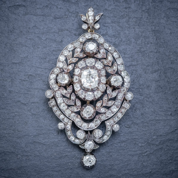 ANTIQUE EDWARDIAN DIAMOND PENDANT BROOCH 8.35CT OF DIAMONDS 18CT GOLD CIRCA 1905 FRONT