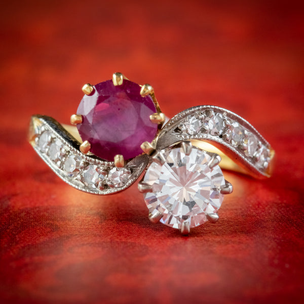 ANTIQUE EDWARDIAN FRENCH 0.90CT RUBY AND DIAMOND TWIST RING PLATINUM 18CT GOLD CIRCA 1901