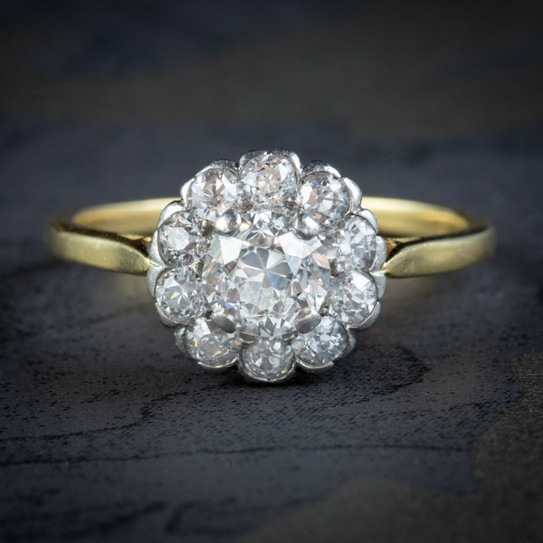 ANTIQUE EDWARDIAN OLD CUT DIAMOND CLUSTER RING 18CT GOLD 1.65CT OF DIAMOND CIRCA 1901