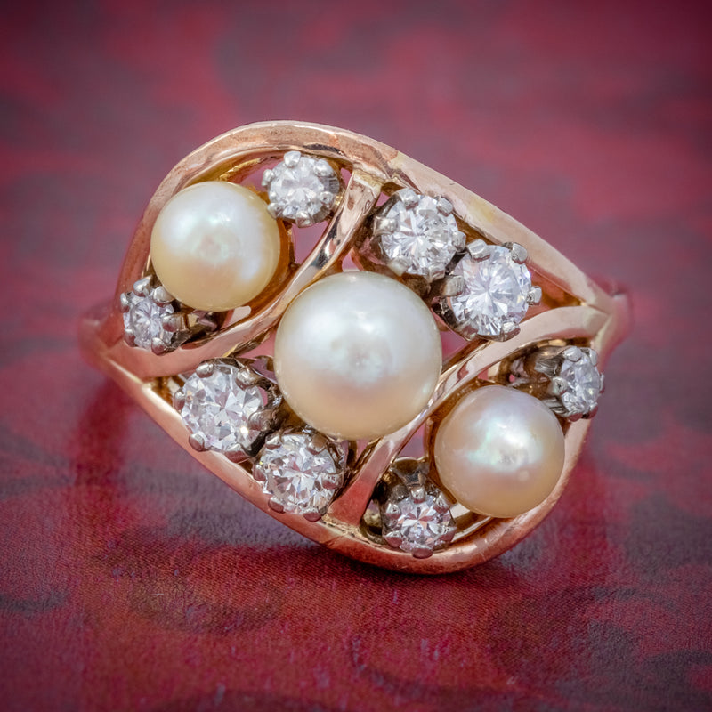 ANTIQUE EDWARDIAN PEARL DIAMOND CLUSTER RING 18CT GOLD CIRCA 1910 COVER