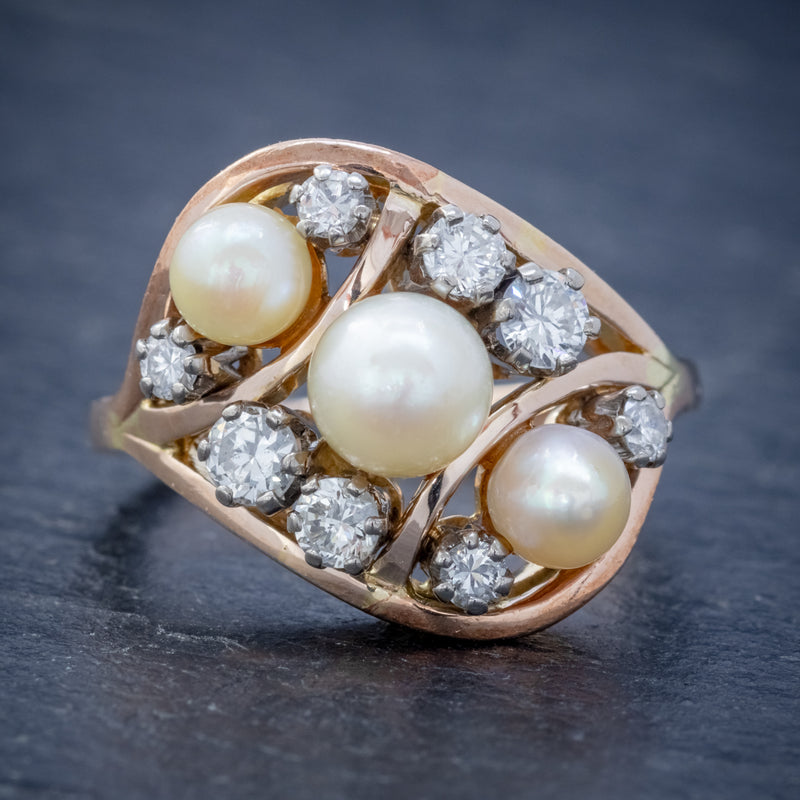 ANTIQUE EDWARDIAN PEARL DIAMOND CLUSTER RING 18CT GOLD CIRCA 1910 FRONT