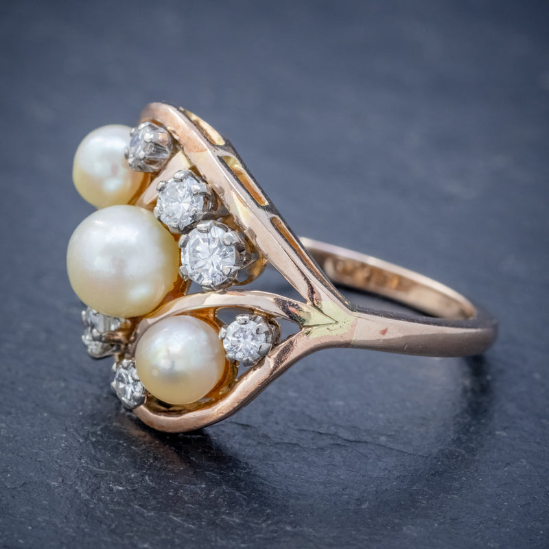 ANTIQUE EDWARDIAN PEARL DIAMOND CLUSTER RING 18CT GOLD CIRCA 1910 SIDE