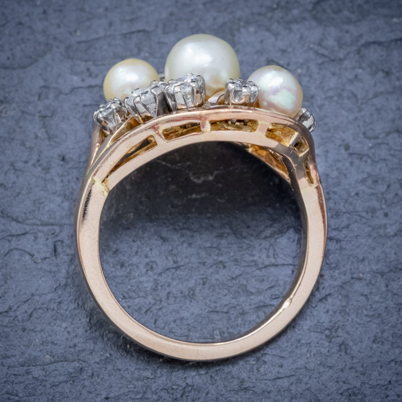 ANTIQUE EDWARDIAN PEARL DIAMOND CLUSTER RING 18CT GOLD CIRCA 1910 TOP