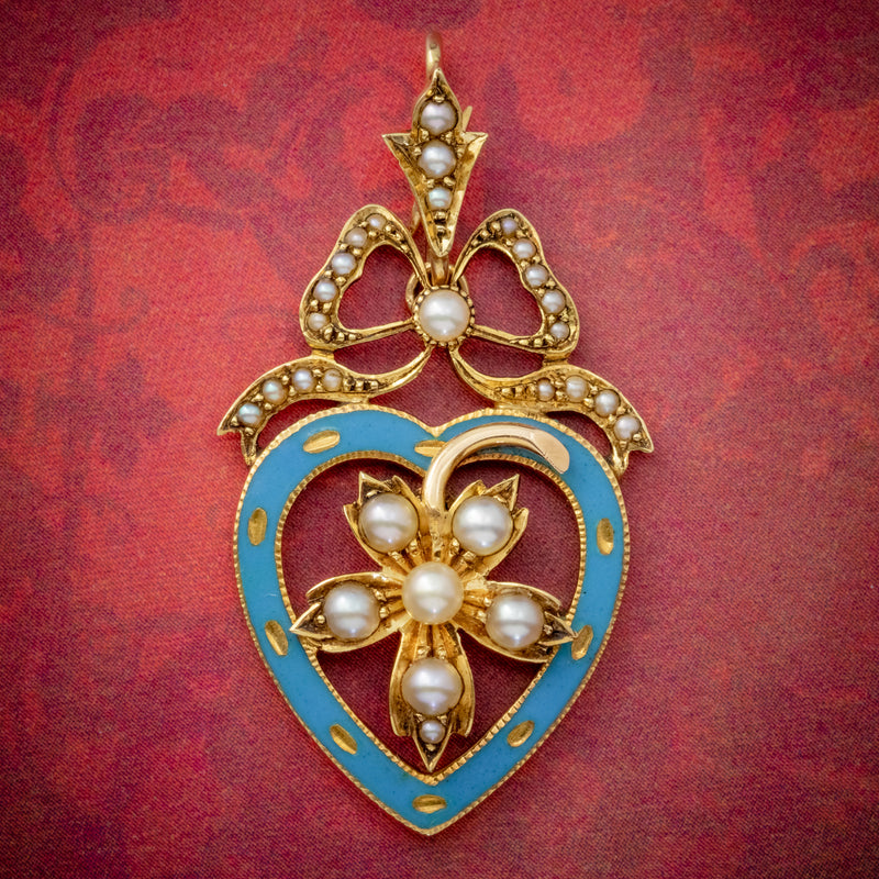 ANTIQUE EDWARDIAN PEARL HEART PENDANT BROOCH 15CT GOLD BLUE ENAMEL CIRCA 1905 BOXED COVER