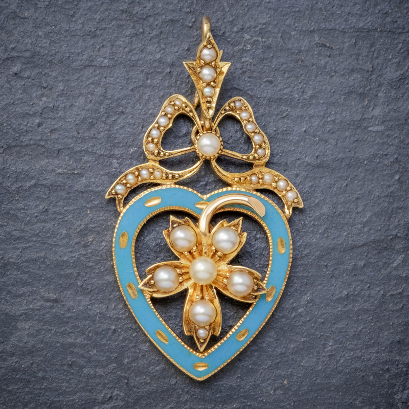 ANTIQUE EDWARDIAN PEARL HEART PENDANT BROOCH 15CT GOLD BLUE ENAMEL CIRCA 1905 BOXED FRONT