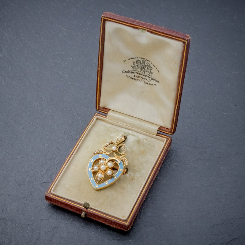 ANTIQUE EDWARDIAN PEARL HEART PENDANT BROOCH 15CT GOLD BLUE ENAMEL CIRCA 1905 BOXED OPEN