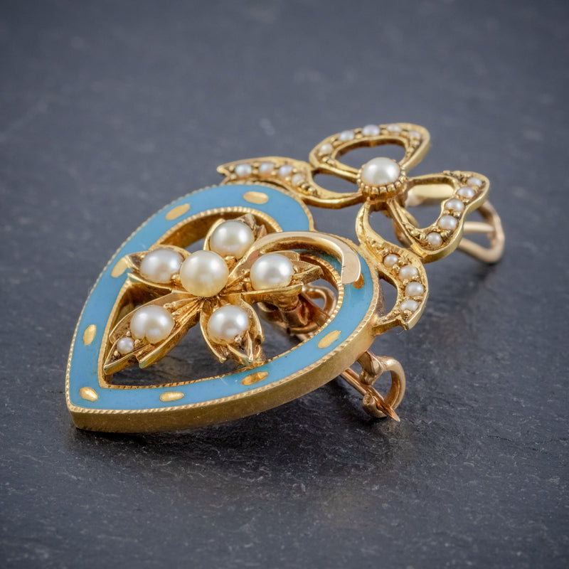 ANTIQUE EDWARDIAN PEARL HEART PENDANT BROOCH 15CT GOLD BLUE ENAMEL CIRCA 1905 BOXED SIDE