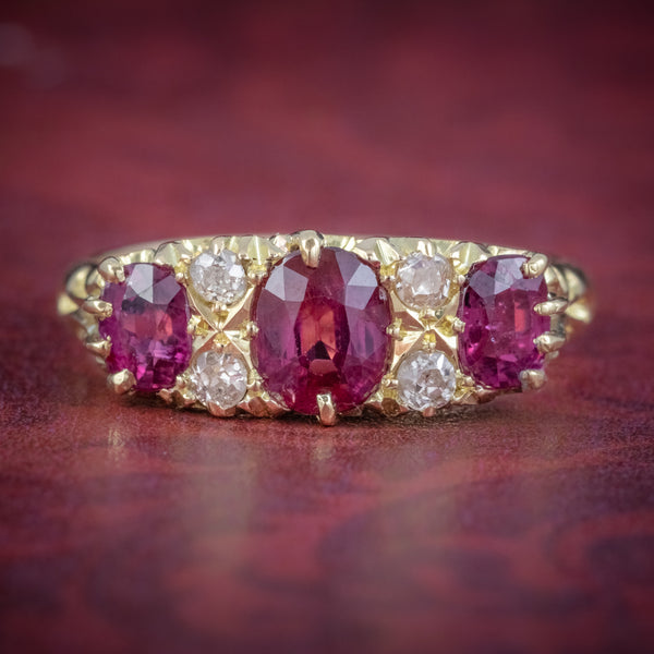 ANTIQUE EDWARDIAN RUBY DIAMOND RING 18CT GOLD 1.45CT RUBIES DATED 1915 COVER