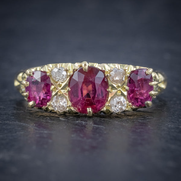 ANTIQUE EDWARDIAN RUBY DIAMOND RING 18CT GOLD 1.45CT RUBIES DATED 1915 FRONT