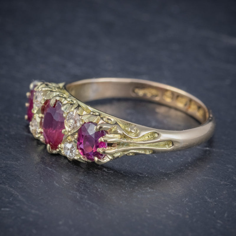 ANTIQUE EDWARDIAN RUBY DIAMOND RING 18CT GOLD 1.45CT RUBIES DATED 1915 SIDE
