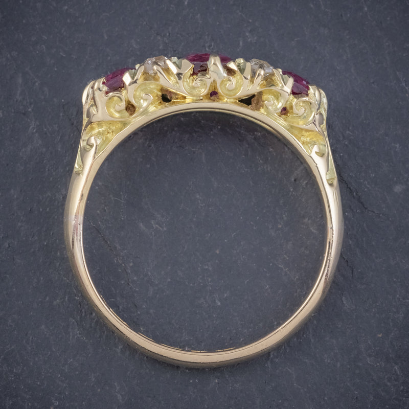 ANTIQUE EDWARDIAN RUBY DIAMOND RING 18CT GOLD 1.45CT RUBIES DATED 1915 TOP