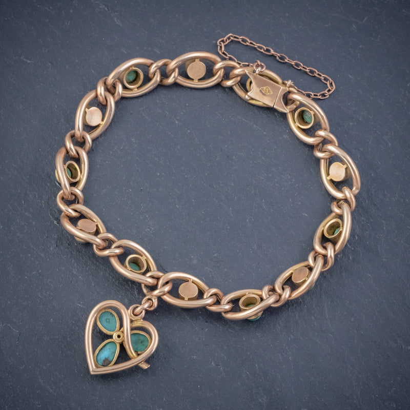 ANTIQUE EDWARDIAN TURQUOISE HEART CLOVER CURB BRACELET 15CT GOLD CIRCA 1905 BOXED BACK
