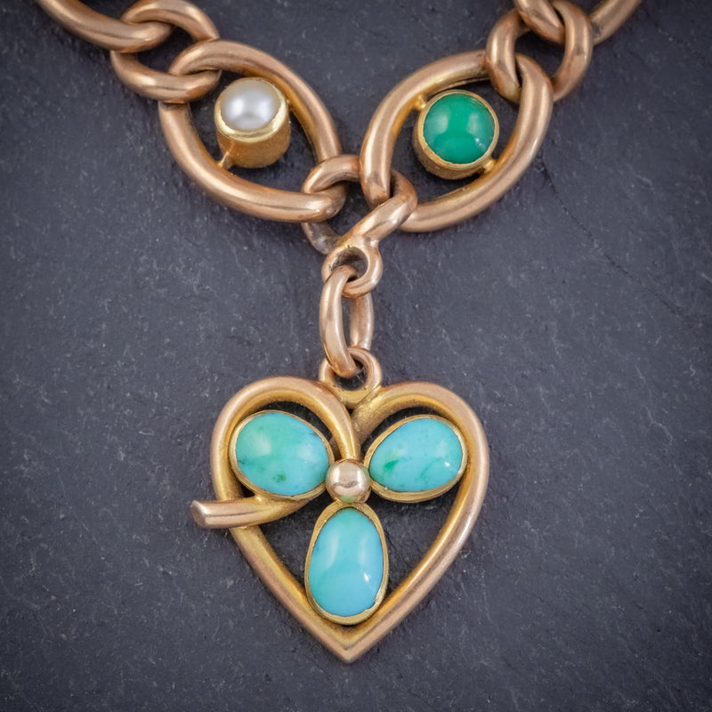 ANTIQUE EDWARDIAN TURQUOISE HEART CLOVER CURB BRACELET 15CT GOLD CIRCA 1905 BOXED HEART
