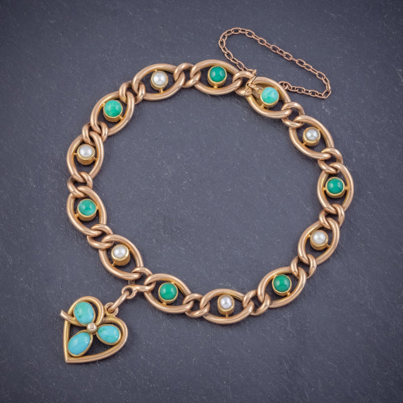ANTIQUE EDWARDIAN TURQUOISE HEART CLOVER CURB BRACELET 15CT GOLD CIRCA 1905 BOXED FRONT