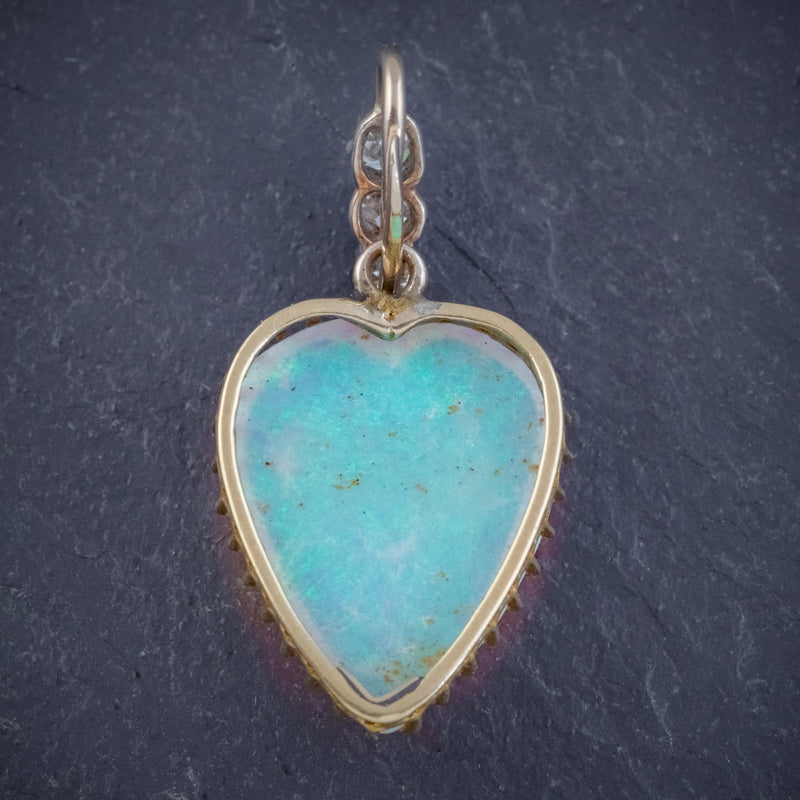 ANTIQUE VICTORIAN 8CT NATURAL OPAL DIAMOND HEART PENDANT CIRCA 1880 BACK
