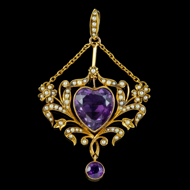 ANTIQUE VICTORIAN AMETHYST PEARL HEART PENDANT 18CT GOLD 10CT AMETHYST CIRCA 1900