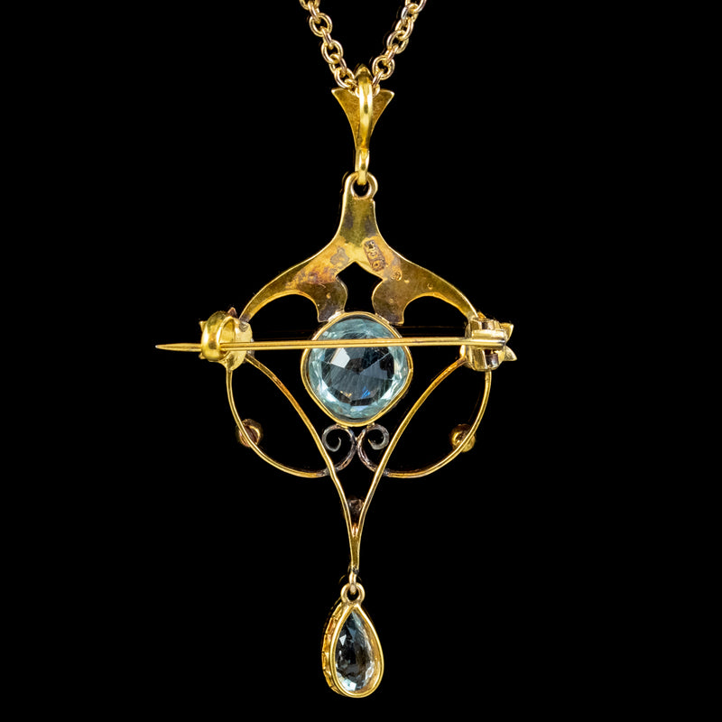 ANTIQUE VICTORIAN ART NOUVEAU AQUAMARINE PEARL PENDANT NECKLACE 9CT GOLD CIRCA 1900 BACK