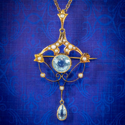 ANTIQUE VICTORIAN ART NOUVEAU AQUAMARINE PEARL PENDANT NECKLACE 9CT GOLD CIRCA 1900 COVER