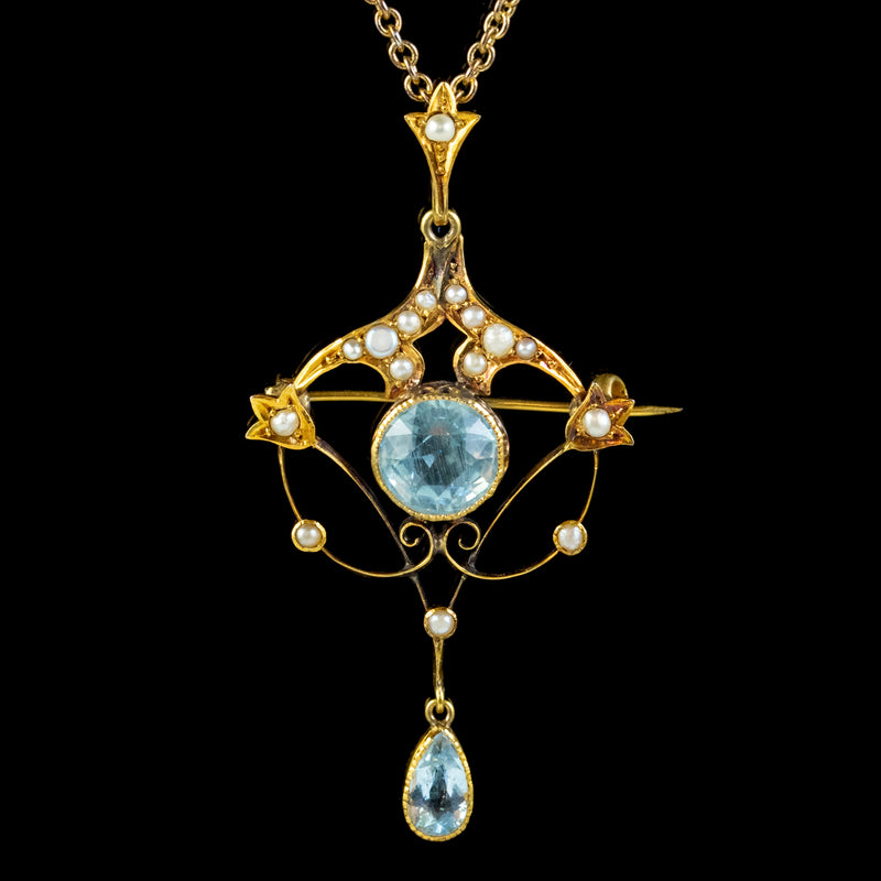 ANTIQUE VICTORIAN ART NOUVEAU AQUAMARINE PEARL PENDANT NECKLACE 9CT GOLD CIRCA 1900 FRONT