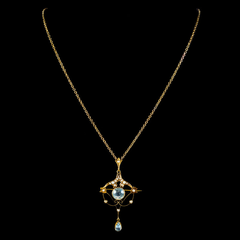 ANTIQUE VICTORIAN ART NOUVEAU AQUAMARINE PEARL PENDANT NECKLACE 9CT GOLD CIRCA 1900 NECK