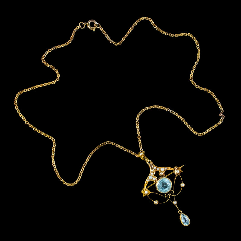 ANTIQUE VICTORIAN ART NOUVEAU AQUAMARINE PEARL PENDANT NECKLACE 9CT GOLD CIRCA 1900 TOP