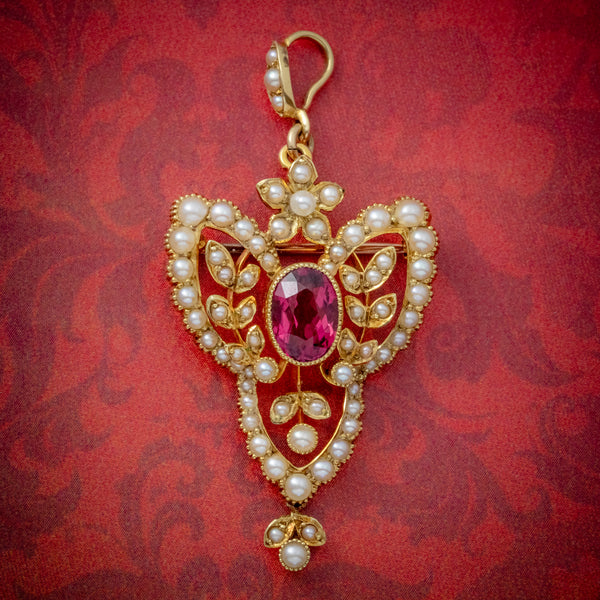 ANTIQUE VICTORIAN ART NOUVEAU PINK QUARTZ PEARL PENDANT BROOCH 15CT GOLD CIRCA 1900 COVER