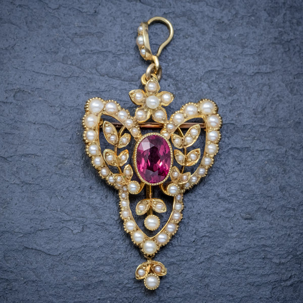 ANTIQUE VICTORIAN ART NOUVEAU PINK QUARTZ PEARL PENDANT BROOCH 15CT GOLD CIRCA 1900 FRONT