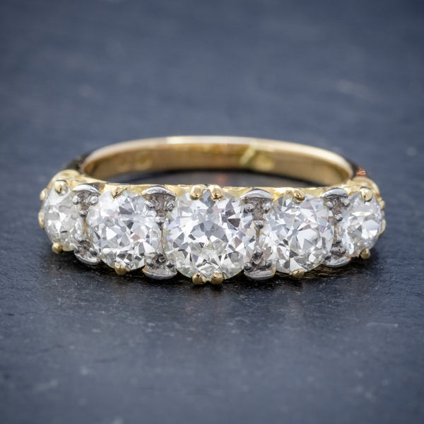 ANTIQUE VICTORIAN DIAMOND FIVE STONE RING 18CT GOLD 3.09CT DIAMONDS CIRCA 1900 CERT FRONT