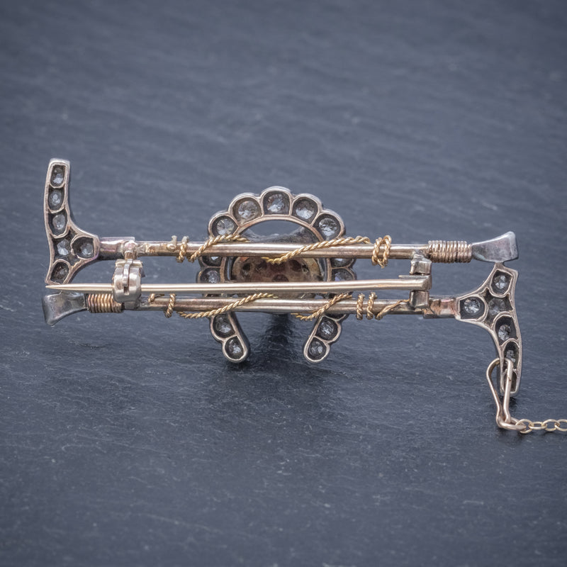 ANTIQUE VICTORIAN DIAMOND FOX HUNTING RIDING BROOCH SILVER 18CT GOLD 2CT OF DIAMOND CIRCA 1900 BACK