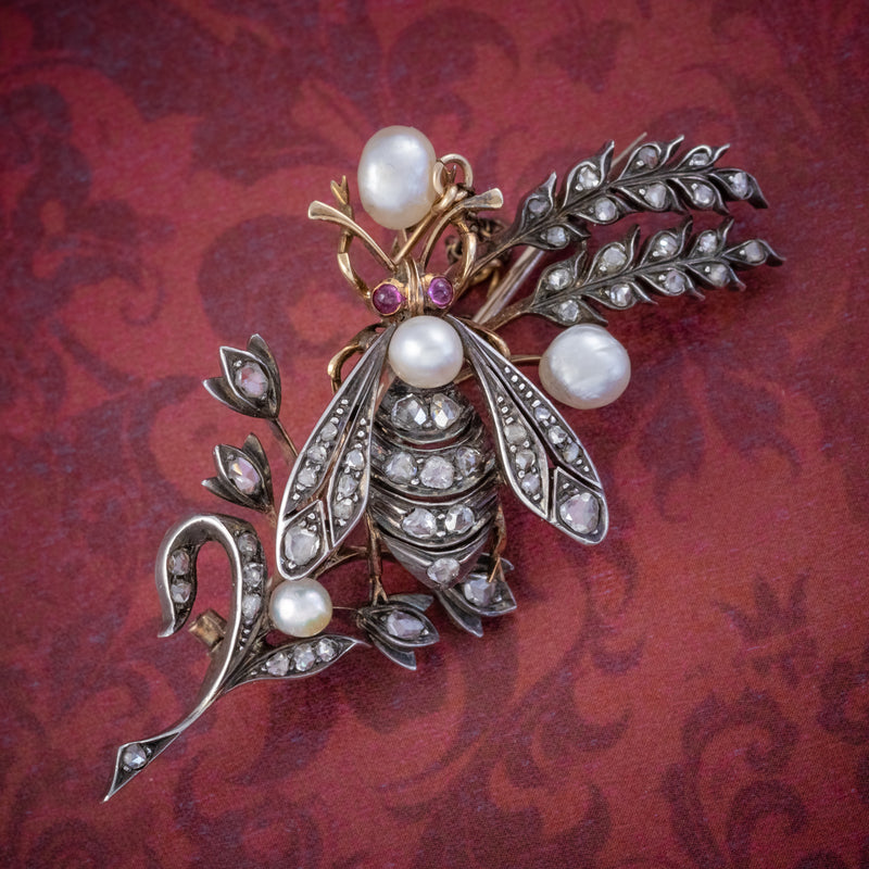 ANTIQUE VICTORIAN DIAMOND PEARL INSECT BROOCH 18CT GOLD SILVER 2CT ROSE CUT DIAMONDS CIRCA 1900 COVER