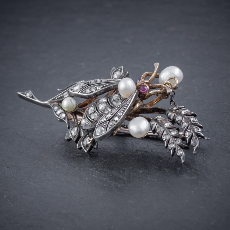 ANTIQUE VICTORIAN DIAMOND PEARL INSECT BROOCH 18CT GOLD SILVER 2CT ROSE CUT DIAMONDS CIRCA 1900 SIDE