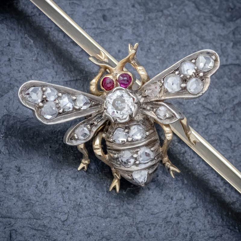 ANTIQUE VICTORIAN DIAMOND RUBY INSECT BROOCH SILVER 18CT GOLD CIRCA 1900 BEE