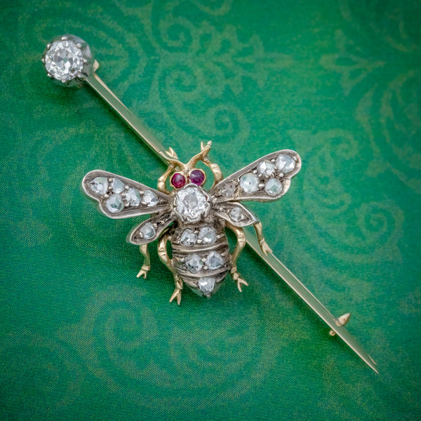 ANTIQUE VICTORIAN DIAMOND RUBY INSECT BROOCH SILVER 18CT GOLD CIRCA 1900 COVER