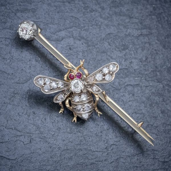ANTIQUE VICTORIAN DIAMOND RUBY INSECT BROOCH SILVER 18CT GOLD CIRCA 1900 FRONT