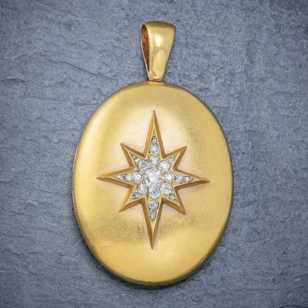 ANTIQUE VICTORIAN DIAMOND STAR LOCKET 18CT GOLD 1.30CT OLD CUT DIAMONDS CIRCA 1900 FRONT