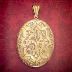 ANTIQUE VICTORIAN FLORAL LOCKET SILVER 18CT GOLD GILT CIRCA 1880 COVER