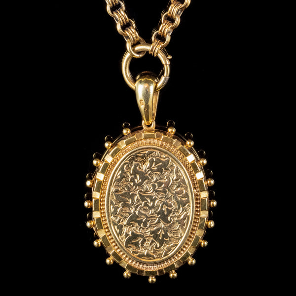 ANTIQUE VICTORIAN IVY LOCKET NECKLACE STERLING SILVER 18CT GOLD GILT DATED 1879
