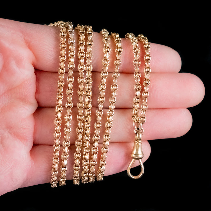 ANTIQUE VICTORIAN LONG GUARD CHAIN NECKLACE 18CT GOLD CIRCA 1880