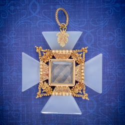 ANTIQUE VICTORIAN MOURNING CROSS PENDANT ETRUSCAN REVIVAL AGATE 18CT GOLD CIRCA 1850 COVER