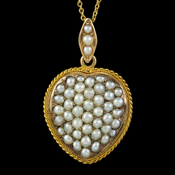 ANTIQUE VICTORIAN NATURAL PEARL HEART PENDANT NECKLACE 18CT GOLD CIRCA 1880