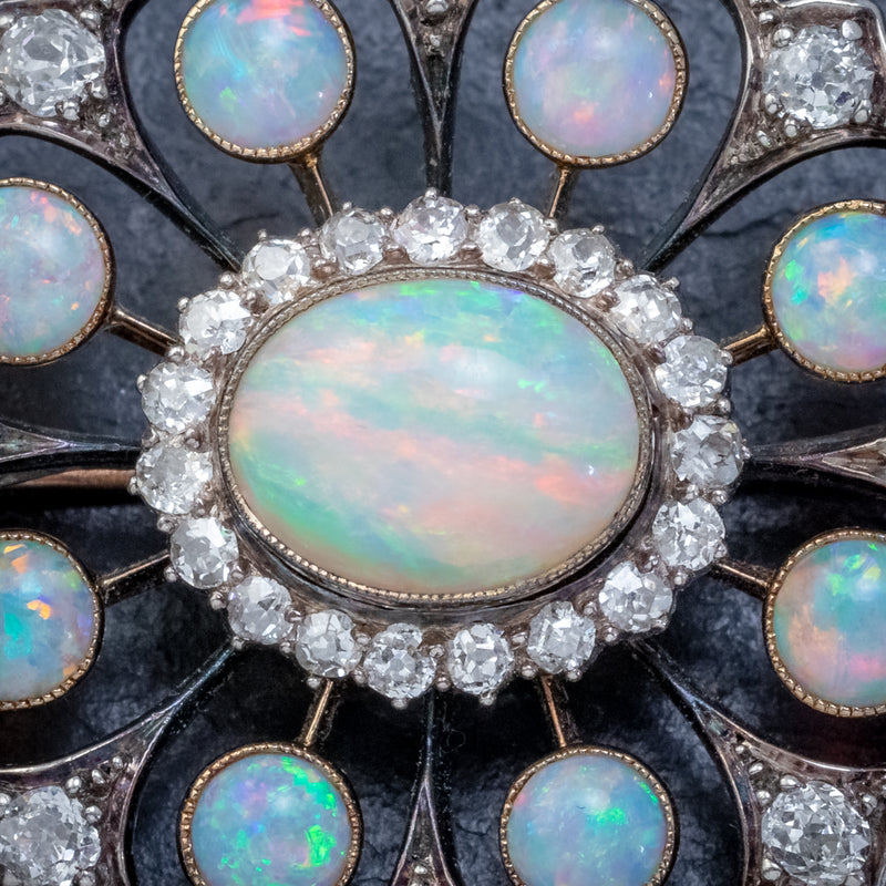 ANTIQUE VICTORIAN OPAL DIAMOND BROOCH NATURAL 5.1CT OPALS CIRCA 1900 CLOSE