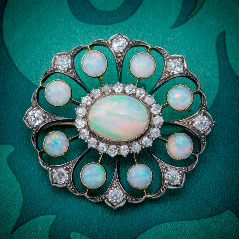 ANTIQUE VICTORIAN OPAL DIAMOND BROOCH NATURAL 5.1CT OPALS CIRCA 1900 COVER
